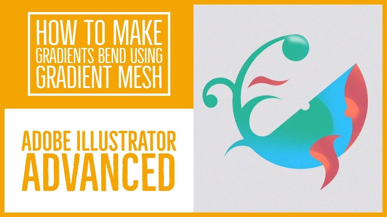 How to make gradients bend using Gradient Mesh - Illustrator Advanced Training [18/53]