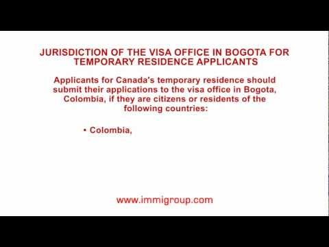 Jurisdiction of the visa office in Bogota for temporary residence applicants