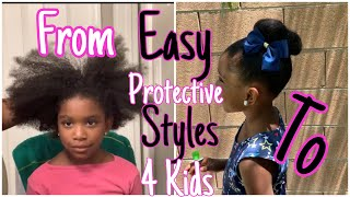 EASY PROTECTIVE STYLES FOR GIRLS| STYLING MY 4 GIRLS HAIR