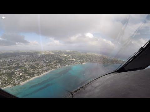 Boeing B787-8 Dreamliner Cockpit View Landing at Bridgetown Barbados