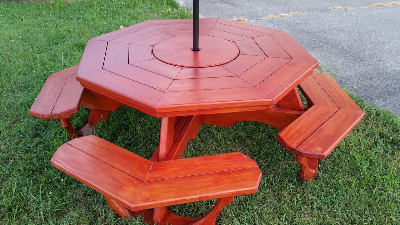 Octagon Picnic Table With Rotating Center Carousel YouTube - Composite octagon picnic table