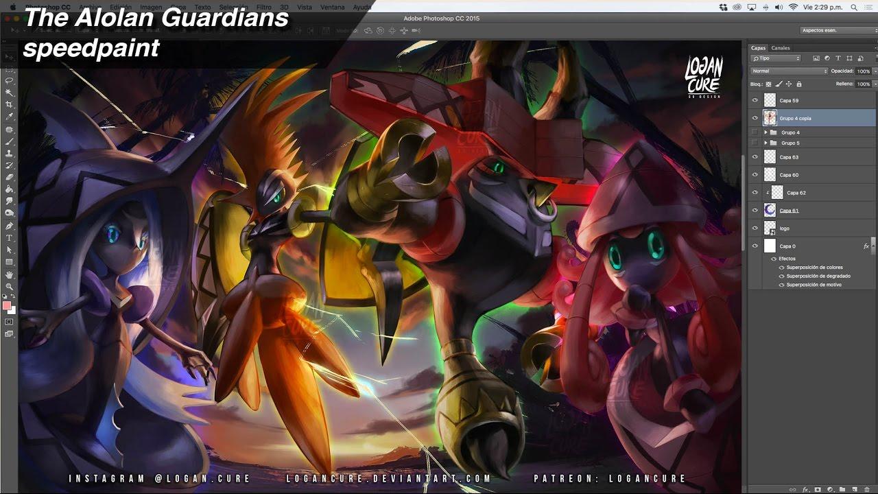 Alolan Guardians Tapus Speedpaint Youtube