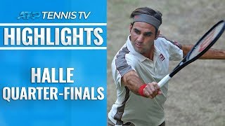 Federer Battles Past Bautista Agut; Goffin, Berrettini Impress   Halle 2019 Quarter-Final Highlights