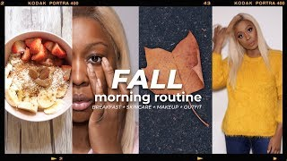 FALL MORNING ROUTINE 🍁🍃🎃 BREAKFAST + SKINCARE, MAKEUP + OUTFIT | 2018