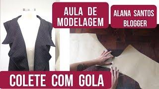 Molde de colete com gola colarinho Alana Santos Blogger
