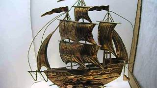 Copper Ship with Wind up Music Box