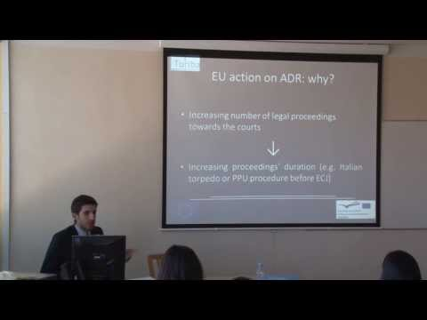"""Francesco Pesce giving lecture on """"Introduction of EU civil judicial cooperation"""""""