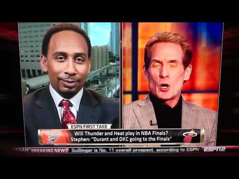 Stephen A. Smith laughs at Skip Bayless about Tiago Splitter