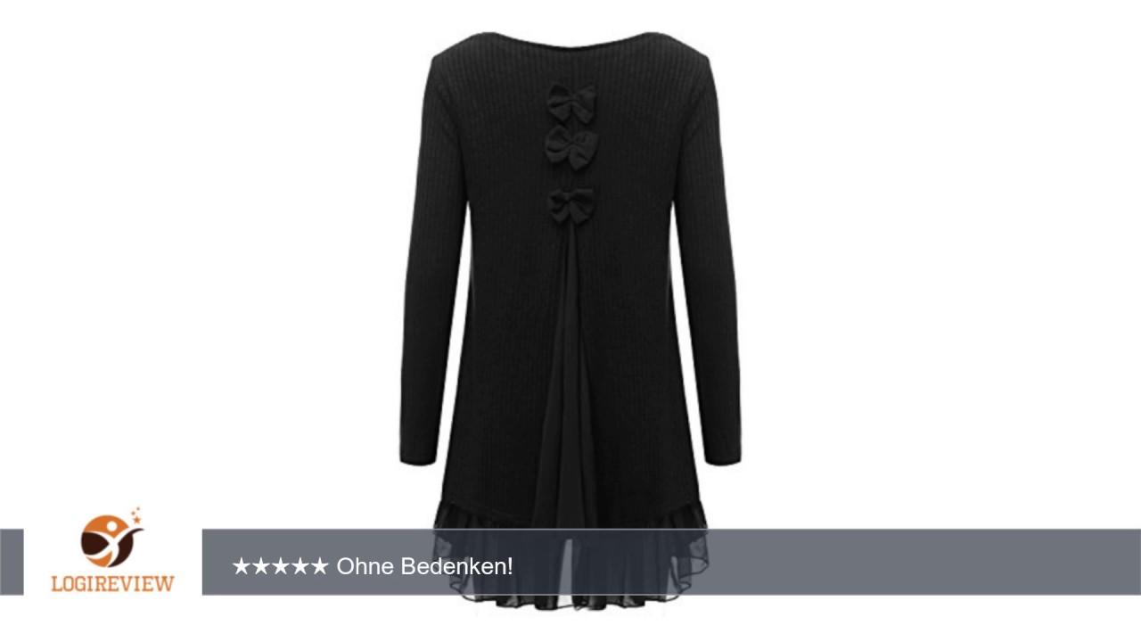 zanzea damen stricken chiffon lace langarm jumper mini kleid pullover |