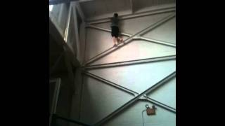 While I was at church camp, this dude climbs the wall and touches t...