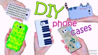5 DIY Phone Case Designs  – How To Make Slime, Pusheen, Piano, Map and Studded Phone Covers