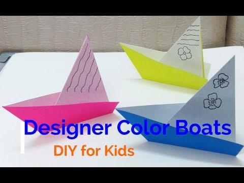 simple paper folding technique to make designer color paper boat for kids youtube. Black Bedroom Furniture Sets. Home Design Ideas