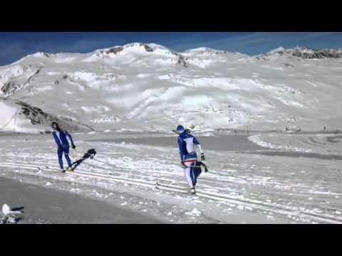 Video - sole e neve per i fondisti in allenamento sul ghiacciaio della val senales | fisi official