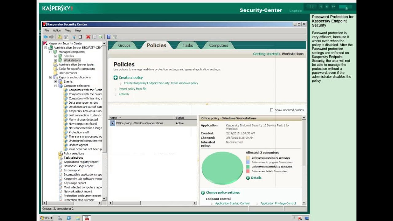 how to change kaspersky password