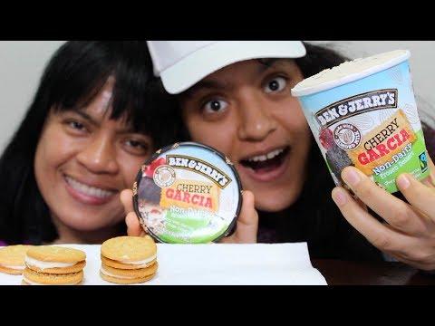 Eating Cherry Garcia Ben and Jerry's Ice Cream MUKBANG