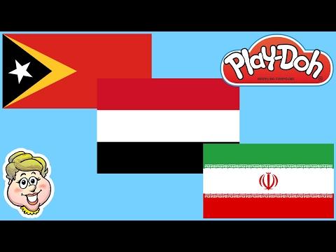 Play-Doh Flags!  East Timor, Yemen, and Iran! EWMJ #326!