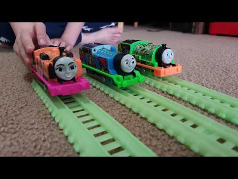 Unboxing Hyper Glow Percy TrackMaster Glow In The Dark Toy Train
