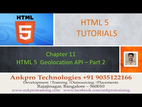 HTML 5 - Chapter 11 - Geo location API (Google Map with a marker, zoom, drag options) Part 2