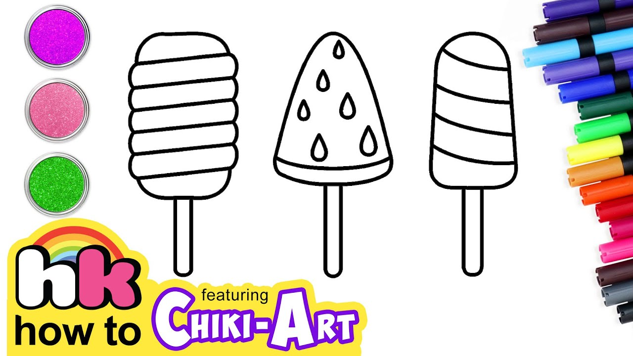 Chiki Art | Glitter Popsicles Drawing & Coloring | Fun Art Learn Colors For Kids | HooplaKidz How To