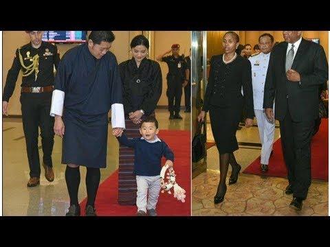 King, queen of bhutan arrive