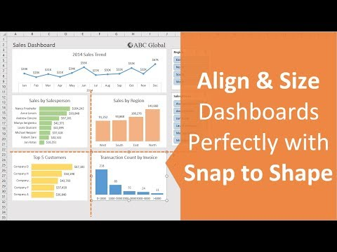 Align & Size Excel Dashboard Elements with Snap to Shape