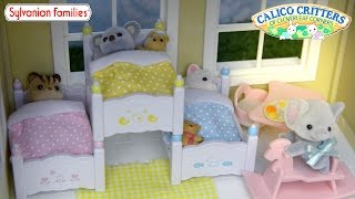 Sylvanian Family Calico Critters Triple Bunk Bed Set Unboxing Review And Play - Kids Toys