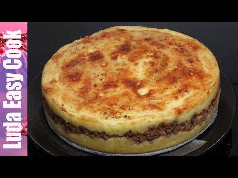 Картофельная запеканка с фаршем, сыром и грибами в духовке