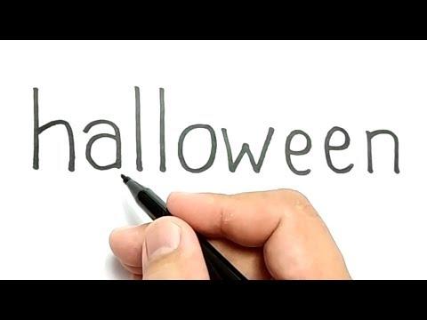 SERAM, cara menggambar kata HALLOWEEN menjadi gambar hantu / how to turn words Halloween