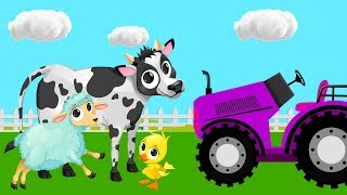 Tractors for Kids With Farm Animals - Harvesters and Tractors  Cartoon for Toddlers 4