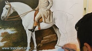 Art Reproduction (Stubbs - A Gentleman on a Grey Horse) Hand-Painted Step by Step