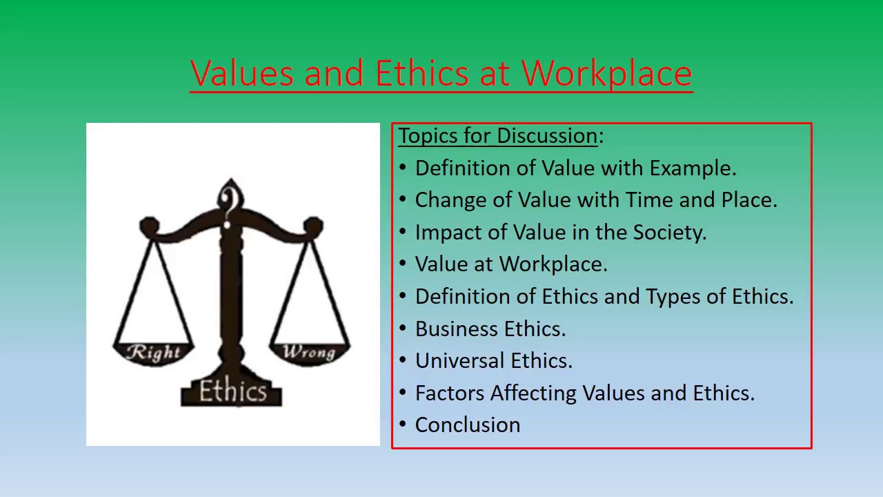 list of work ethics and values