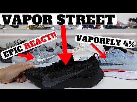 4ce11504fe44 Смотреть видео Nike REACT Vapor Street Flyknit Review  Compared to Epic  REACT   Zm VaporFly 4% онлайн