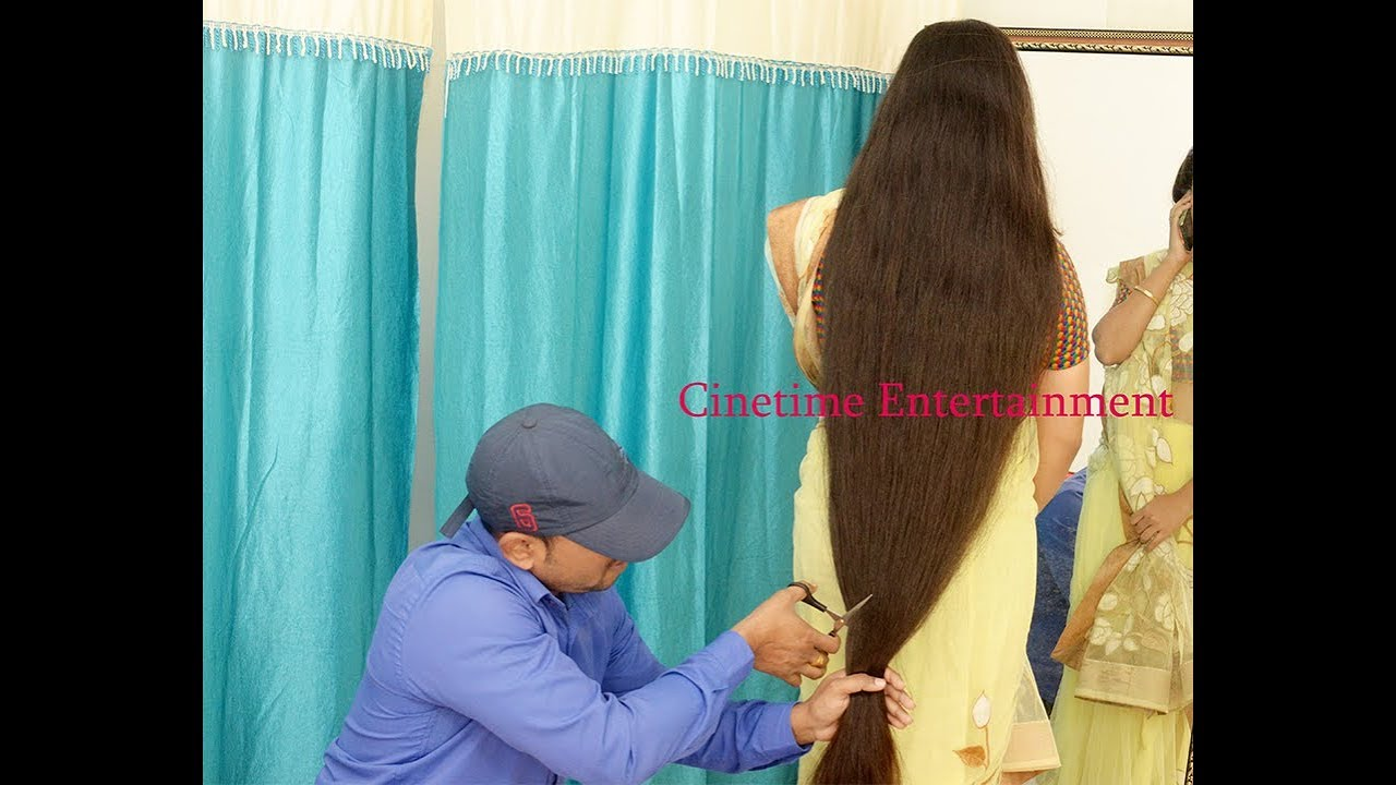 indian woman extreme long hair cut by male
