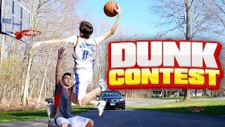 OMG I DUNKED OVER HIM! CRAZY MINI HOOP DUNK CONTEST