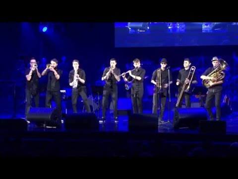 """Orchestra Beat Brass Band live at the Grand Concert Hall """"Octyabrsky""""."""