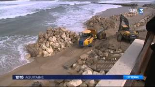 Opération empierrement pour sauver la plage de Lacanau
