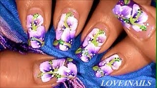 Purple Sweet Pea Spring Flower Nail Art Design Tutorial