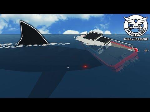 New Megalodon Attacks My Custom Boat! - Stormworks Gameplay - Sinking Ship Survival