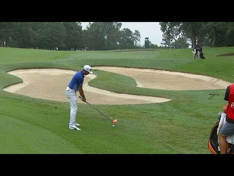Rickie Fowler hits second shot off the deck with driver at the TOUR Championship