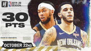 Lonzo Ball & Brandon Ingram Pelicans DEBUT Highlights vs Raptors (2019.10.22) - 30 Pts Combined!