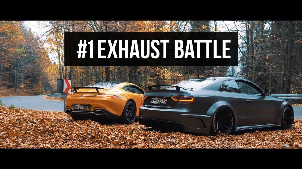 exhaust battle 1 mercedes amg gts vs audi sr66. Black Bedroom Furniture Sets. Home Design Ideas