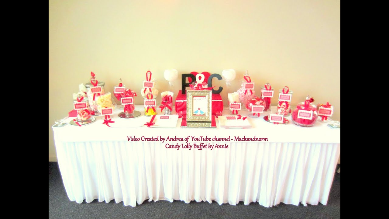 Candy/Lolly Buffet for a Wedding - Red Dessert Table - YouTube