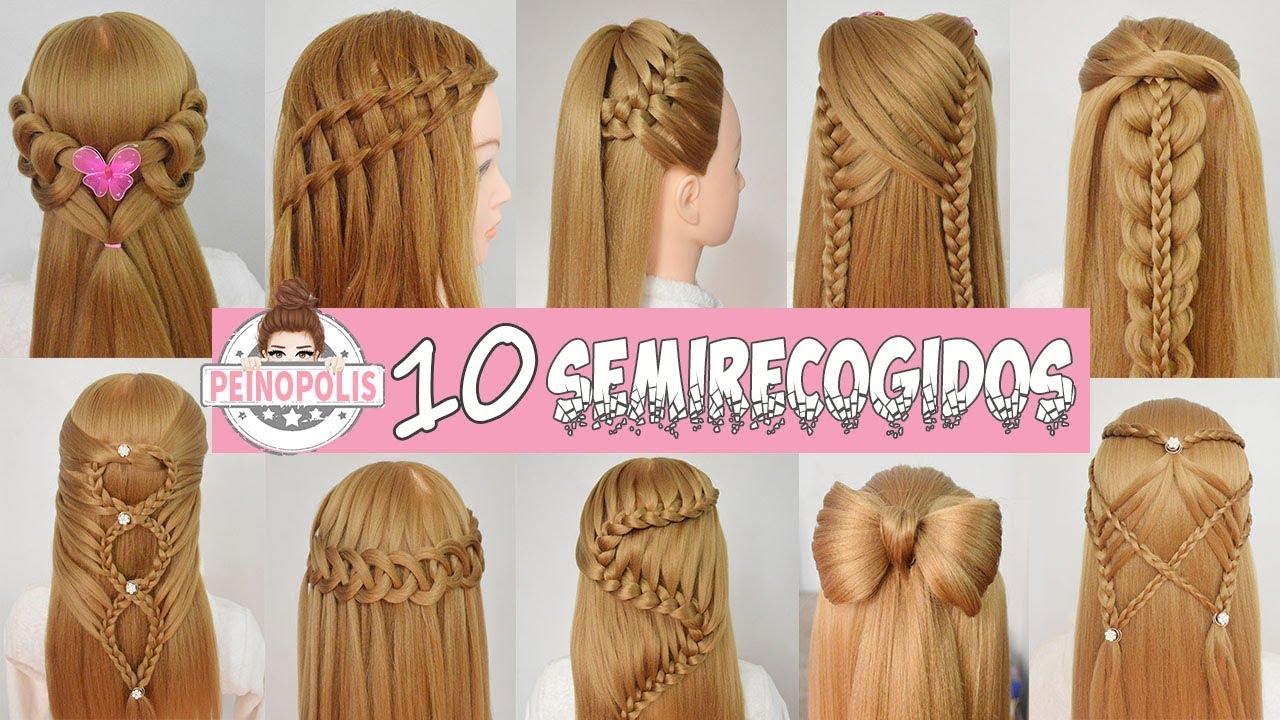 Peinados semirecogidos con trenzas faciles y rapidos