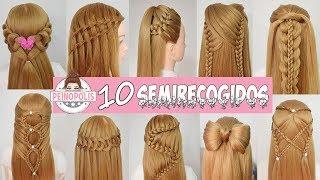 10 SEMIRECOGIDOS : Peinados Faciles y Rapidos con Trenzas para toda ocasion