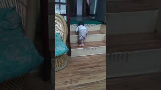 Malini baby climbing stairs