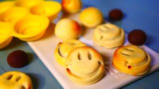 チョコあん入り桃山 Smileyface Momoyama with chocolate bean paste ( Wagashi Sweets )