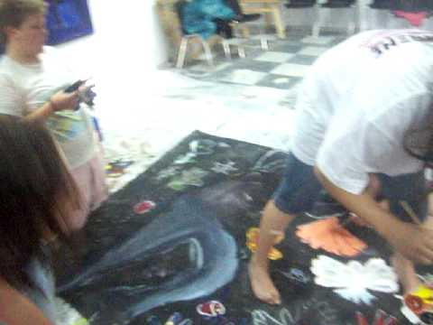 Kiveli Cultural Society Pirgos Village Samos.  Children Painting for their Theatrical Performance