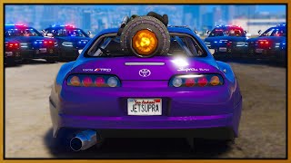 GTA 5 Roleplay - 10 cops chase Jet Engine Supra | RedlineRP