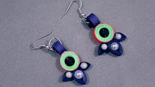 Paper Quilling Craft Tutorial # 4 - Learn Beautiful Ear Ring Making @ ekunji.com