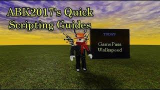 Roblox Scripting Guide: GamePass Walkspeed